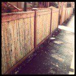 Clôture en bambou avec cadre en bois ©Inconnu