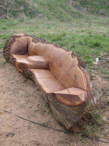 Banc sculpté dans un tronc d'arbre ©inconnu