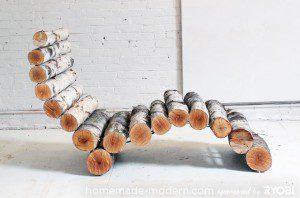 Chaise longue en rondins de bois ©homemade-modern.com