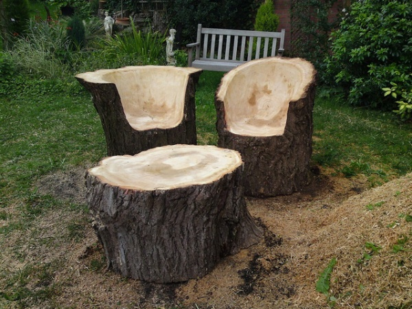 15 cr ations diy pour le jardin partir de rondins de bois for Hollow tree trunk ideas